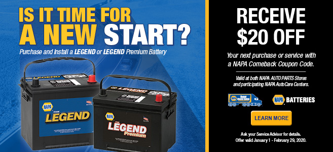 Purchase and install a LEGEND battery, receive $20 off!