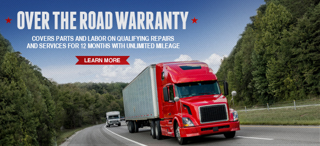 Over the Road Warranty. Covers parts and and labor on qualifying repairs and services for 45 days with unlimited mileage. Learn more.